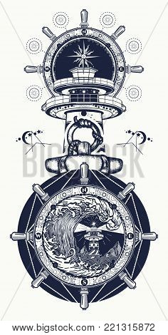 Lighthouse, Steering Wheel, Sea Storm Tattoo. Lighthouse And Rose Compass T-shirt Design. Symbol Of