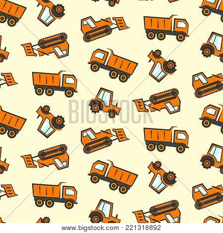 Cute kids seamless pattern with flat orange industrial transport. Childrens boys background with cartoon dozer, tractor and dumper for textile, wrapping paper, package, wallpaper, web design
