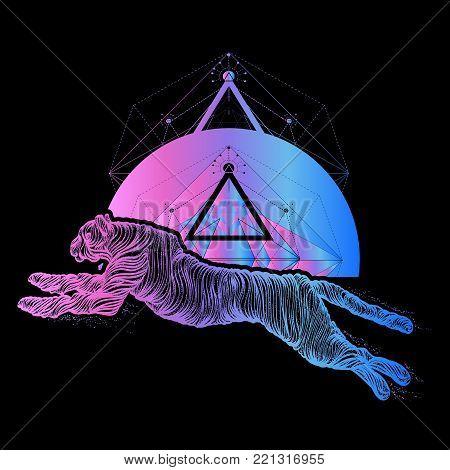 Running cheetah tattoo, line art. Cheetah geometrical style t-shirt design. Jumping panther, mystical tattoo, sacred geometry. Sign hunting, travel, tourism