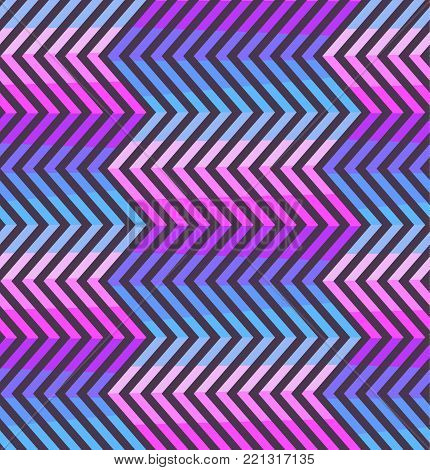 Abstract zigzag seamless pattern in blue, pink and violet colors. Fashion purple crankle texture with colorful zigzags for youth textile, wrapping paper, cover, banner, background, fabric print