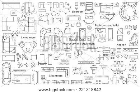 Set of furniture top view for apartments plan. The layout of the apartment design, technical drawing. Interior icon for bathrooms, living room, kitchen, bedroom, hallway . Vector illustration.
