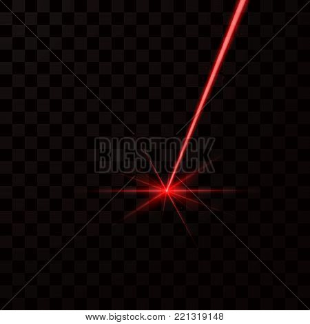Realistic red laser beam. Red light ray. Vector illustration isolated on dark background