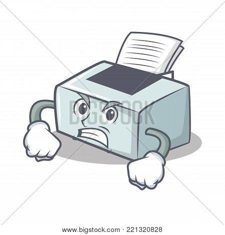Angry printer mascot cartoon style vector illustration