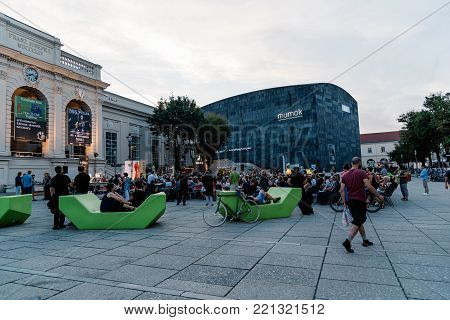 Vienna, Austria - August 17, 2017: Museumsquartier in Vienna. It is home to large art museums like the Leopold Museum and the MUMOK, Museum of Modern Art Ludwig Foundation Vienna