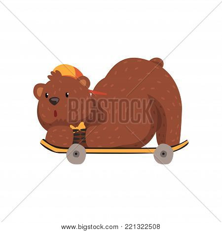 Skateboarder bear riding on skateboard in lying position. Cartoon character of wild animal with brown fur, small rounded ears and paws with claws. Grizzly in orange cap and bow tie. Flat vector design
