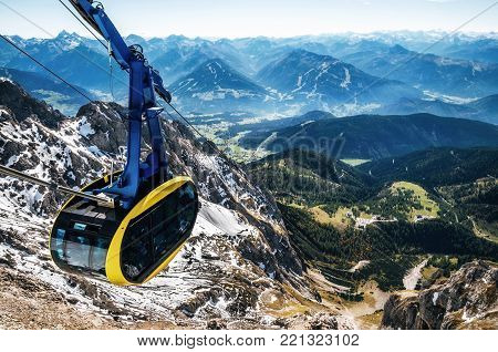 Cable car or gondola to mountain peak of Dachstein glacier in Austrian Alps