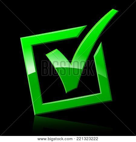 Illustration of green checkmark on black background