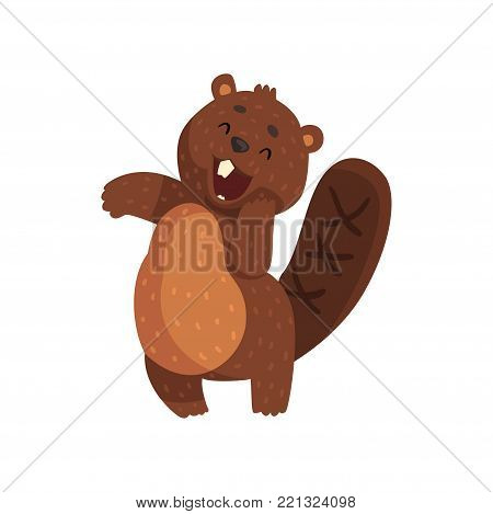 Shy little beaver with cute muzzle. Adorable forest animal with little ears, shaped tail and big white teeth. Cartoon rodent character. Isolated flat vector design for sticker, print or children book.