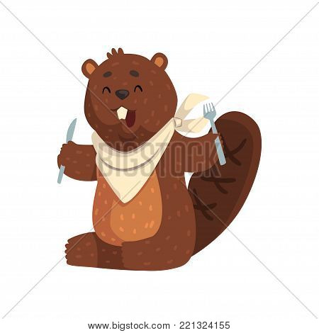 Cartoon beaver with fork and knife in paws, ready to eat. Cheerful forest rodent with big teeth, little ears and shaped tail. Wild animal concept. Flat vector illustration isolated on white background
