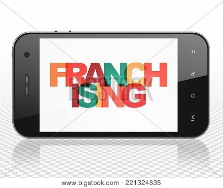 Finance concept: Smartphone with Painted multicolor text Franchising on display, 3D rendering