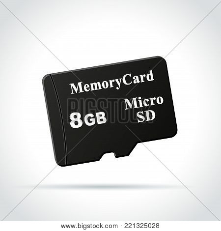 Illustration of micro sd card icon on white background