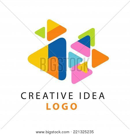 Abstract creative idea logo template. Colorful triangles with rounded corners. Educational business or hub emblem, children center of creativity label concept. Simple flat design vector on white.
