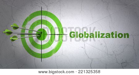 Success business concept: arrows hitting the center of target, Green Globalization on wall background, 3D rendering