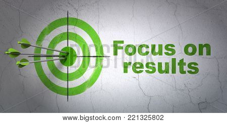 Success business concept: arrows hitting the center of target, Green Focus on RESULTS on wall background, 3D rendering