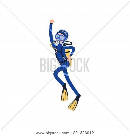 Man diver swimming up to surface of ocean with hand up. Cartoon male character in special diving suit, mask, flippers and aqualung on back. Extreme underwater sport. Isolated flat vector illustration.