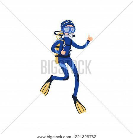 Diver swimming underwater and showing thumb up. Cartoon young man character in special diving costume, mask, flippers and equipment for breathing gas. Extreme underwater sport. Flat vector design.