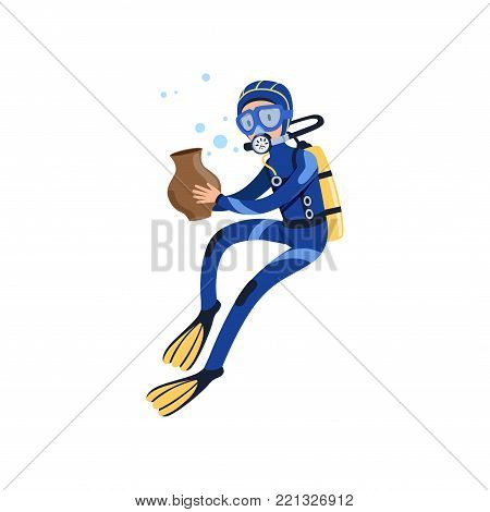Diver found ancient vessel on the ocean floor. Cartoon young man character in special diving suit, swimming goggles, flippers and breathing gas on back. Isolated vector illustration in flat style.