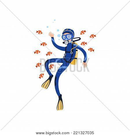 Scuba diver swimming with little exotic fishes in tropical waters. Summer vacation concept. Cartoon man character in wetsuit, mask, flippers and equipment for breathing on back. Flat vector design