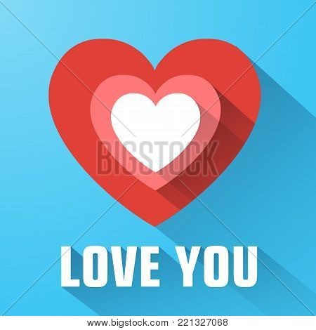 Greeting beautiful template with love confession red flat heart long shadow on blue background isolated vector illustration