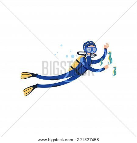 Seahorses and diver in underwater world. Summer vacation concept. Cartoon man character in blue wetsuit, swimming goggles, flippers and equipment for breathing on back. Isolated flat vector design.