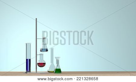 Clean modern white laboratory Horizontal template for a poster laboratory equipment without people science laboratory research and development concept blue background laboratory development research