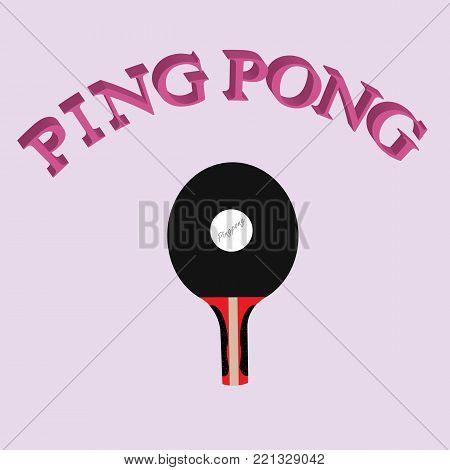 Ping Pong logo writing with paddle and ping bong ball