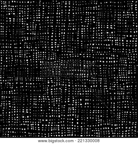 Black and white dots pattern, textile background, cotton seamless texture. Fabric textile material. Rag Rural backdrop. Vector.