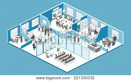 Isometric Interior Of Reception. Flat 3D Illustration Of Waiting Room