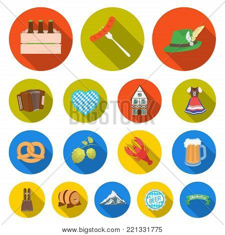 October festival in Munich flat icons in set collection for design.Tradition and fun vector symbol stock  illustration.