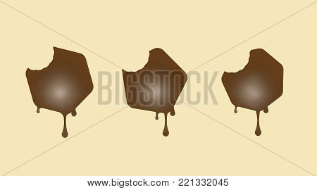 Collection of milk chocolate cake. Form a Pentagon, hexagon and heptagon. Vector illustration.