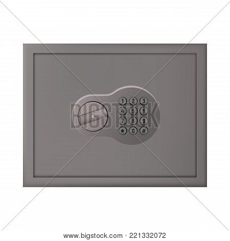 Safety box for cash vector illustration. Closed coding lock.
