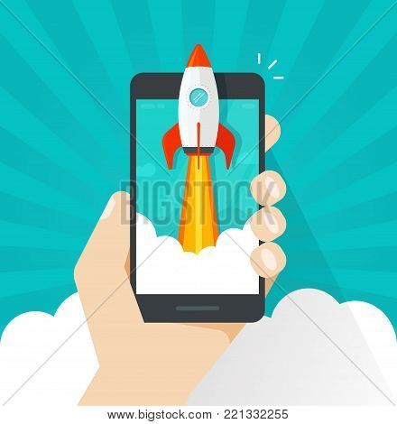 Startup vector concept, flat cartoon quick rocket or rocketship launch and mobile phone or smartphone, idea of successful business project start up, boost cellphone technology, innovation strategy