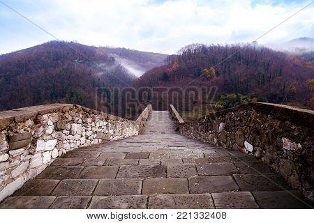 Bridge of Mary Magdalene near Borgo a Mozzano (Lucca), Italy poster