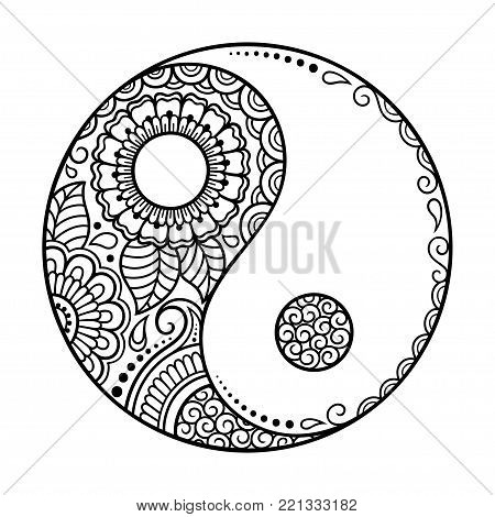 Circular Pattern. Yin-yang Decorative Symbol. Mehndi Style. Decorative Pattern In Oriental Style. Co