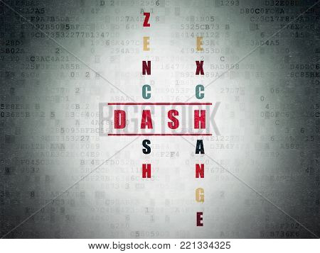 Cryptocurrency concept: Painted red word Dash in solving Crossword Puzzle on Digital Data Paper background