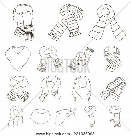 Scarf and Shawl outline icons in set collection for design.Clothes and Accessory vector symbol stock illustration.