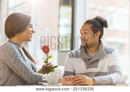 Happy girl with red rose talking to her amorous boyfreind in cafe