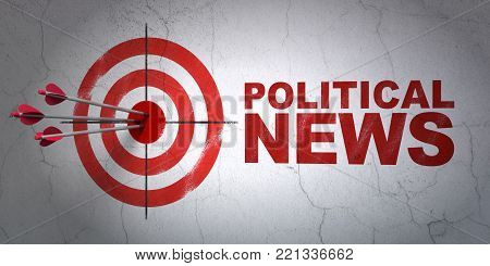 Success news concept: arrows hitting the center of target, Red Political News on wall background, 3D rendering