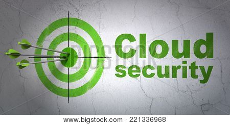 Success cloud technology concept: arrows hitting the center of target, Green Cloud Security on wall background, 3D rendering