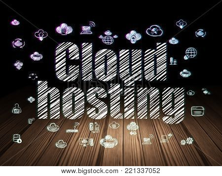 Cloud networking concept: Glowing text Cloud Hosting,  Hand Drawn Cloud Technology Icons in grunge dark room with Wooden Floor, black background