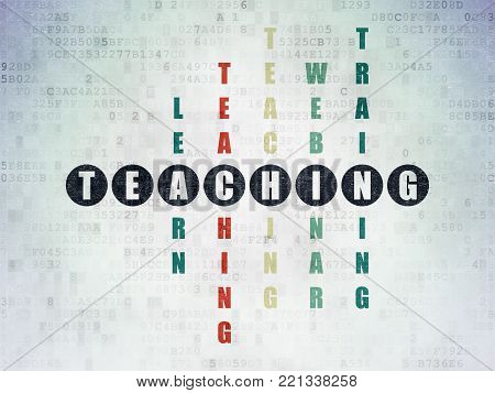 Learning concept: Painted black word Teaching in solving Crossword Puzzle on Digital Data Paper background