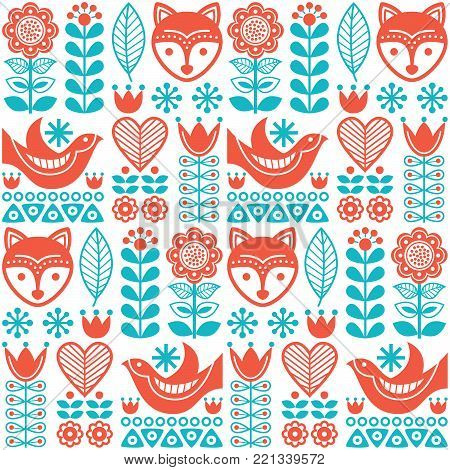 Scandinavian seamless vector folk pattern with flowers and animals inspired by Finnish art poster