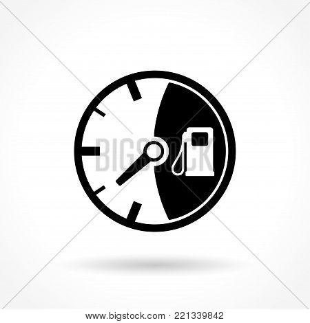 Illustration of fuel gauge icon on white background