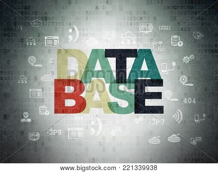 Database concept: Painted multicolor text Database on Digital Data Paper background with  Hand Drawn Programming Icons