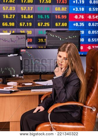 Stock exchange people. Trader woman sitting table surrounded by monitors in business office. Learning secrets of trading. Girl dressed in business suit.