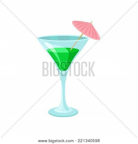 Creen cocktail with umbrella in martini glass cartoon vector Illustration on a white background