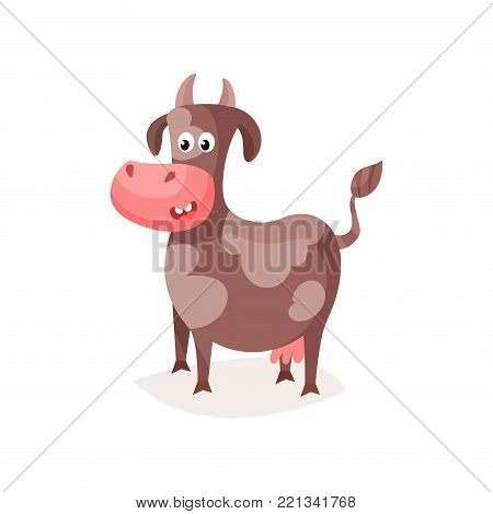 Funny brown spotted cow, cute milk cow cartoon vector Illustration on a white background
