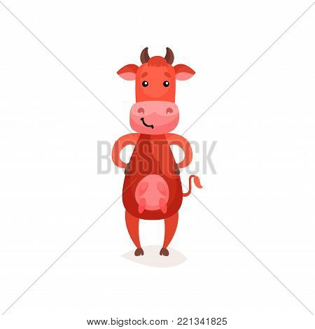 Funny cow, brown milk cow standing on two legs cartoon vector Illustration on a white background