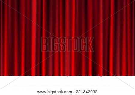 Red closed curtain in a theater or ceremony for your design. Draped Theatrical scene. vector illustration EPS 10.