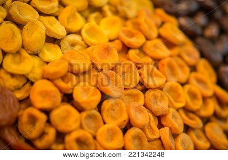 Dried Fruit Background. Rows Of Dried Fruits On Sochi Market